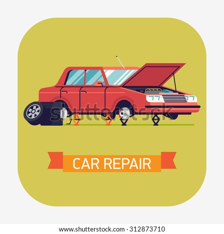 Cool vector flat car repair icon with sedan car standing on jacks without wheels and opened hood | Car service web icon with broken car | Tire changing or braking system repair illustration - stock vector