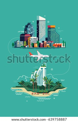 Cool vector flat design concept on summer travel. Exotic destination illustration. Vacation trip layout with city landscape, plane and tropical island resort hotel