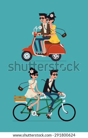 Cool vector flat design happy young man and woman characters couple riding tandem bicycle and retro city scooter isolated | Young hipsters couple riding twin bike and vintage moped laughing happily