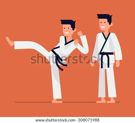 Cool vector flat design on young karate teacher character | Martial arts master isolated | Karate class adult male person in action - stock vector