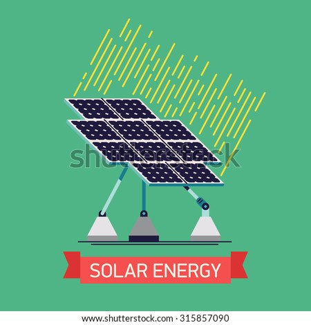 Cool vector flat design solar power source panel web icon | Trendy industrial solar energy panel construction technology illustration. Ideal for ecology, energy and power resources infographics - stock vector