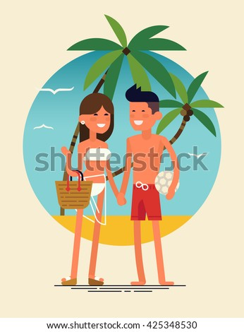 Cool vector flat design summer beach vacation adult couple standing with beach palms on background. Friendly smiling young man and woman in swim suit and shorts ready to enjoy their leisure vacation - stock vector