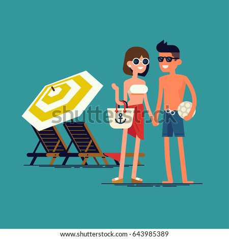 Cool vector flat design summer beach stock vector for Cool vacations for couples