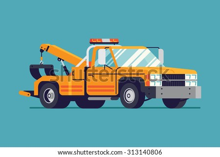 Cool Vector Flat Design Towing Truck Stock Vector - Truck decal graphicstruck and vehicle decal graphic design stock vector image