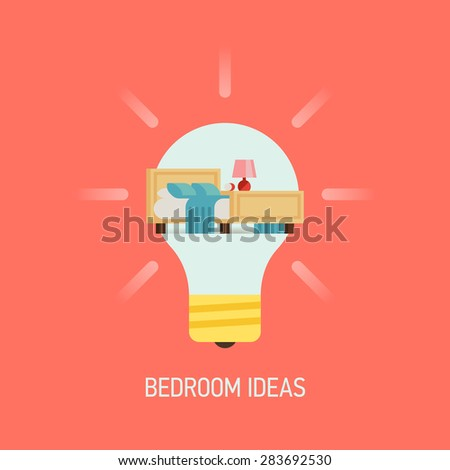 Cool Vector Flat Design Web Banner Illustration On Interior Bedroom Ideas With Lightbulb And