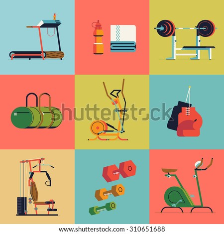 Cool vector flat design web icons on fitness gym exercise equipment and items with weight bench, treadmill, stationary bike and more. Ideal for lifestyle and fitness infographics - stock vector