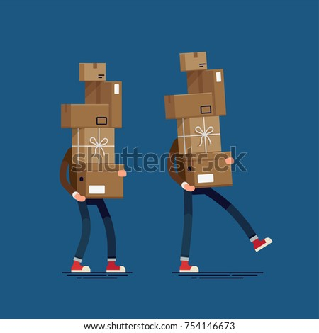 Cool vector flat illustration set on shipping and delivery with man carrying large stack of boxes, packages and containers. Storage, logistics, goods themed design element with man carrying boxes