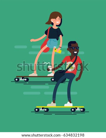 Cool vector hipster characters riding longboards. Cheerful adult African man with sunglasses and coffee paper cup, caucasian young adult girl rides skateboard. Skateboard as urban personal transport