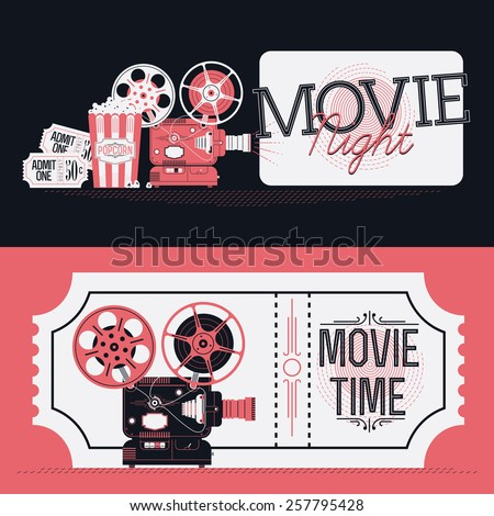 Cool vector horizontal web banners or print flyer design elements on Movie Night event with detailed retro motion picture film projector, admit one cinema theater tickets and popcorn  - stock vector