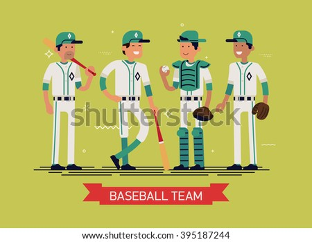 Cool vector illustration on group line-up of fully equipped baseball or softball players characters in white and green clothes, full length. Sport professional career concept layout on baseball team - stock vector