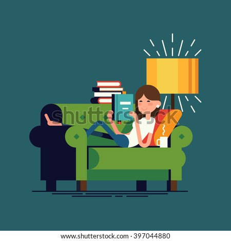 Cool vector illustration on woman reading book lying on couch. Young adult girl having a rest with good book. Girl enjoying good book on couch at home - stock vector