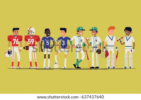 Cool vector line-up of sportsmen characters. Confident football, soccer, baseball and cricket players standing in different poses wearing uniforms. Sport career professionals