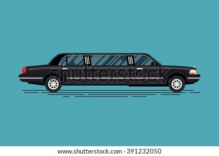 Cool vector luxury vehicle stretch car. Black limousine, side view. Limo, saloon car or luxury sedan in trendy flat design, side view, isolated