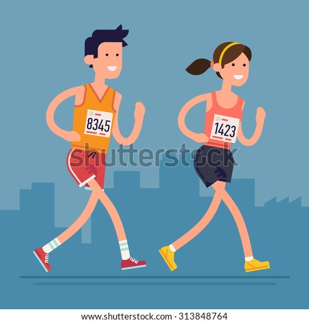 Cool vector marathon road race runners in trendy flat design | Young adult man and woman fitness characters participating in long distance running even with marathon number tags on - stock vector