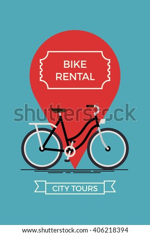 Cool vector poster or banner template on city bike hire rental tours for tourists and city visitors. Travel and tourism concept background with bicycle and location pin - stock vector