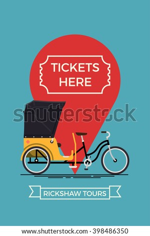 Cool vector poster or banner template on city bike rickshaw tours tickets selling for tourists and city visitors. Travel and tourism concept background with cycle rickshaw and location pin - stock vector