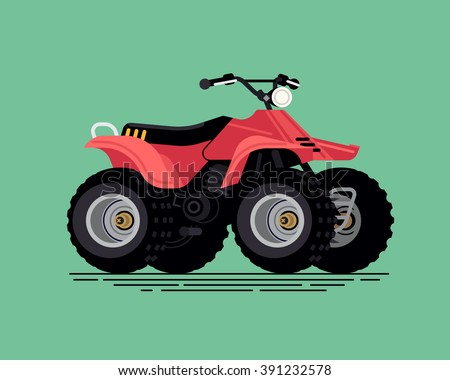 Cool vector quad bike. All terrain vehicle. Four wheeler. Quadricycle transportation flat design element isolated - stock vector