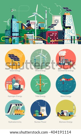 Cool vector set of header image, round web icons on smart energy and power. Renewable, eco friendly, zero emission power sources for modern living. Smart city and power network grid concept background - stock vector