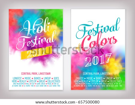 Cool Vector Summer Festival Background Set With Abstract Colorful Rainbow Paint Clouds Poster Brochure