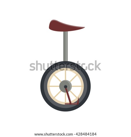 Cool vector unicycle illustration. Circus, performer or hobby pedal drive one wheel transport vehicle cartoon flat bike isolated on white background.