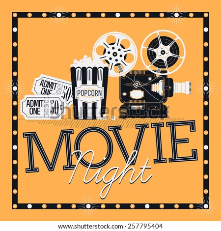 Cool vector web banner or printable design element on Movie Night event with detailed retro motion picture film projector, admit one cinema theater tickets, marquee frame with bulbs and popcorn  - stock vector