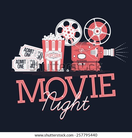 Cool vector web banner or printable design element on Movie Night event with detailed retro motion picture film projector, admit one cinema theater tickets and popcorn. Dark background - stock vector