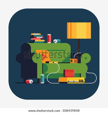 Cool vector web icon on home video game console night with cozy green sofa, retro game console with controllers and cartridges | Having fun playing good old video games concept illustration - stock vector