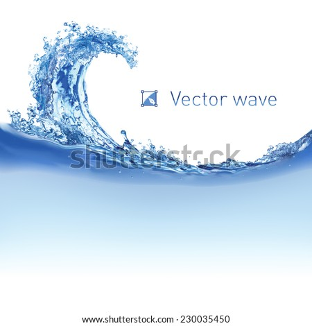 Cool water wave. Illustration on white for design - stock vector