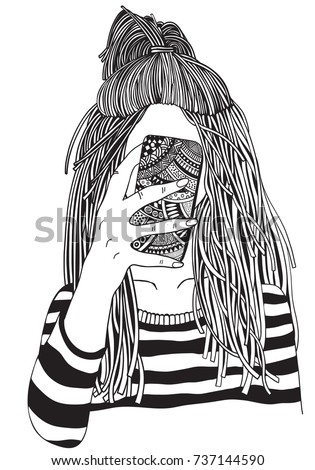 Cool Yong Girl Taking Picture On Stock Vector 737144590 Shutterstock