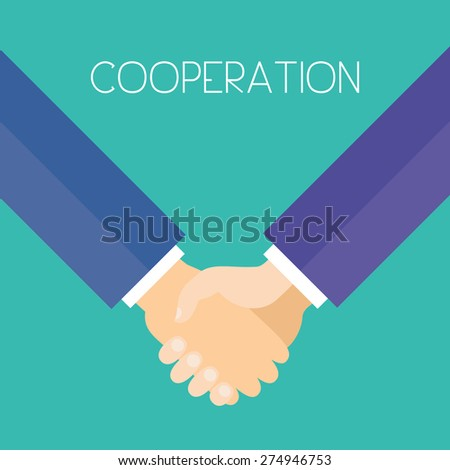 Cooperation. Business men holding hands. Flat design vector illustration.