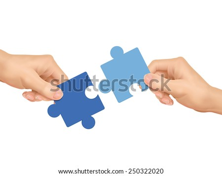 cooperation concept: hands holding jigsaw pieces over white background - stock vector