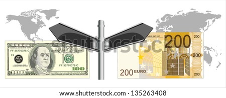 Cooperation euro and dollar. Conceptual image. - stock vector