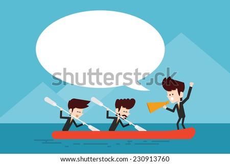 cooperation/ teamwork concept flat designs cartoon - stock vector