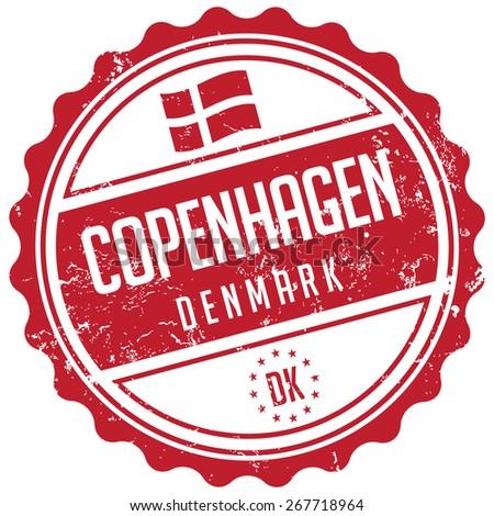 copenhagen stamp - stock vector