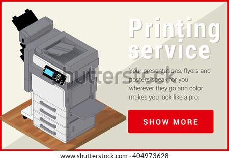 Copier printer isometric flat vector 3d illustration. Vector illustration realistic printer and scanner. Printer flat icon.  - stock vector