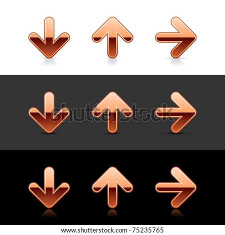 Copper arrow icon web 2.0 buttons with shadow and reflection on white, gray and black - stock vector