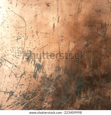 Copper Grunge Background, Vector Illustration - stock vector
