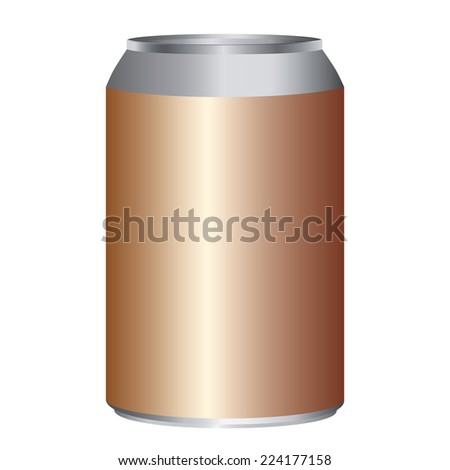 Copper metal can adjustable high size isolated on white - stock vector