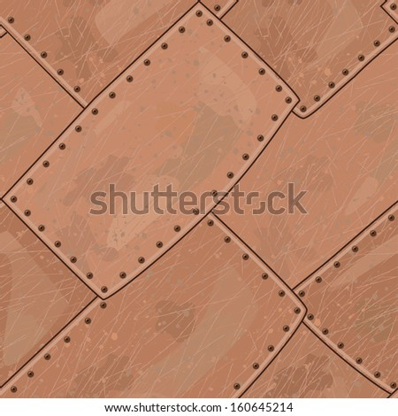Copper seamless texture with rounded corners - stock vector