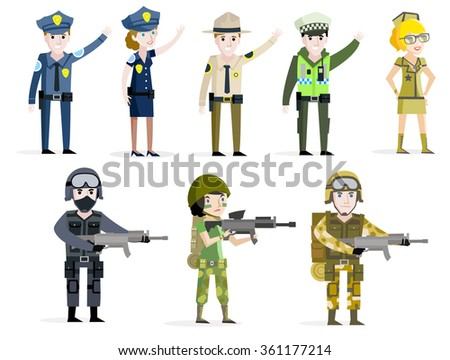 cops and soldiers vectors - stock vector