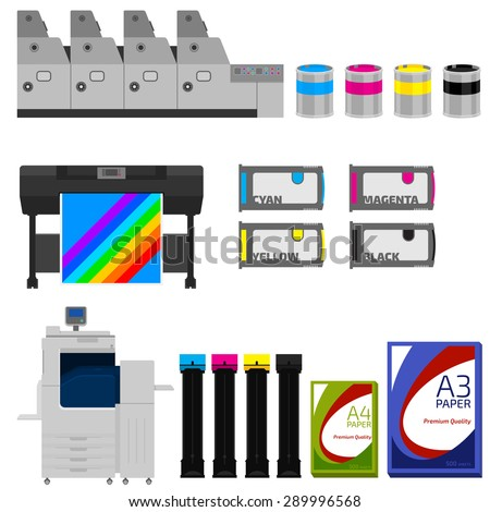 Copy and polygraph equipment. Business press machines. Color media collection. Color Ink and cartridge. Paper for laser and ink print. Copy and scan. Laser, ink, offset machine.  Publisher industry. - stock vector