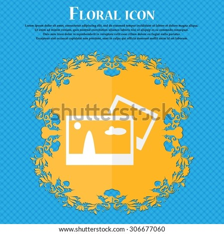 Copy File JPG sign icon. Download image file symbol. Floral flat design on a blue abstract background with place for your text. Vector illustration - stock vector