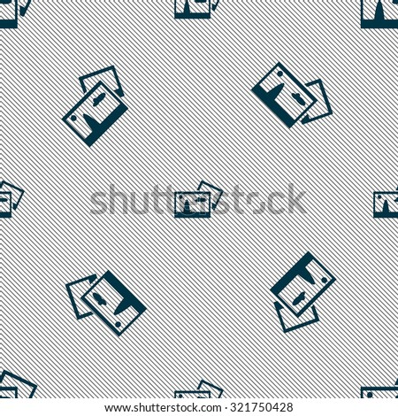 Copy File JPG sign icon. Download image file symbol. Seamless pattern with geometric texture. Vector illustration - stock vector