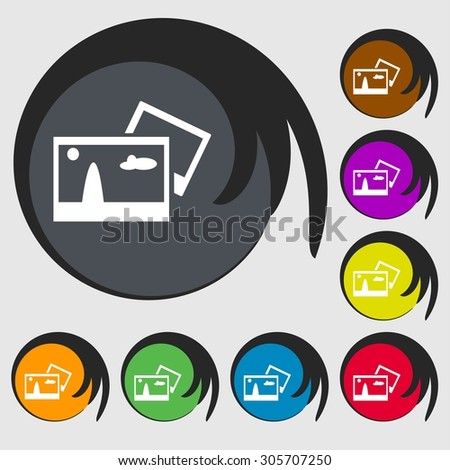 Copy File JPG sign icon. Download image file symbol. Symbols on eight colored buttons. Vector illustration - stock vector