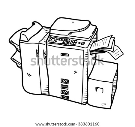 Copy Machine Doodle, a hand drawn vector doodle illustration of a copy machine. - stock vector
