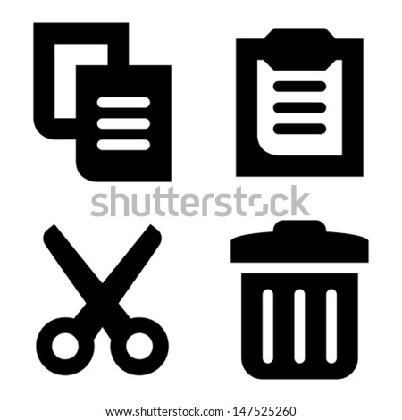 Copy Paste Cut Delete Icons Stock Vector Royalty Free 147525260