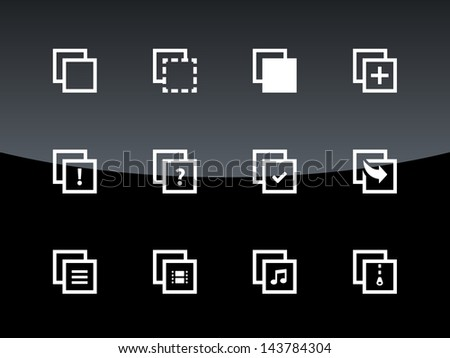 Copy Paste Icons for Apps, Presentations, Web Pages on black background. Vector illustration. - stock vector