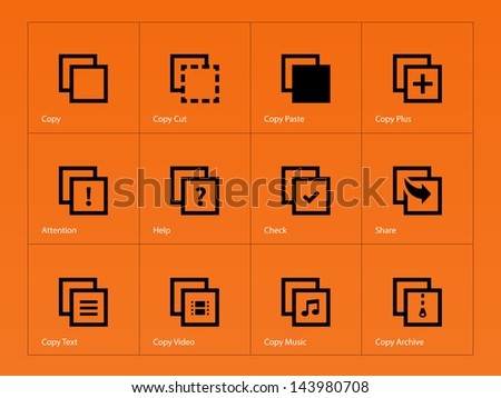 Copy Paste Icons for Apps, Presentations, Web Pages on orange background. Vector illustration. - stock vector