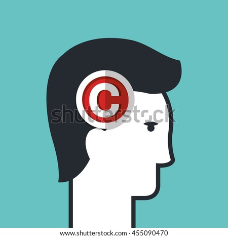 copy right seal over head human  isolated icon design, vector illustration  graphic  - stock vector
