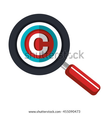 copy right seal over magnifying glass  isolated icon design, vector illustration  graphic